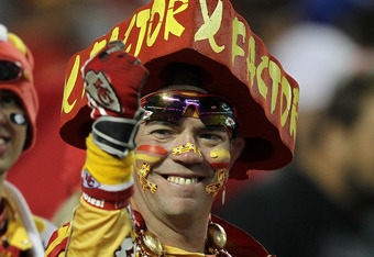 KANSAS CITY, MO - OCTOBER 31:  A fan of the Kansas City Chiefs looks on from the stands during the game against the San Diego Chargers at Arrowhead Stadium on October 31, 2011 in Kansas City, Missouri.  (Photo by Jamie Squire/Getty Images)