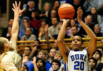 DURHAM, NC - JANUARY 19:  Andre Dawkins #20 of the Duke Blue Devils shoots a three-point basket against the Wake Forest Demon Deacons during play at Cameron Indoor Stadium on January 19, 2012 in Durham, North Carolina.  (Photo by Grant Halverson/Getty Ima