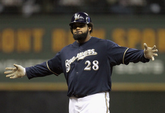 MILWAUKEE, WI - OCTOBER 10:  Prince Fielder #28 of the Milwaukee Brewers reacts after he hit a double in the bottom of the fourth inning against the St. Louis Cardinals during Game Two of the National League Championship Series at Miller Park on October 1