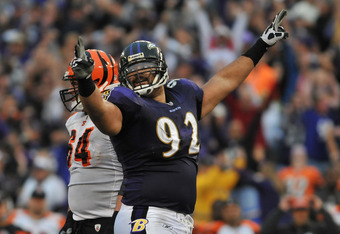BALTIMORE - NOVEMBER 20:  Haloti Ngata #92 of the Baltimore Ravens celebrates a play against the Cincinnati Bengals at M&T Bank Stadium on November 20,  2011 in Baltimore, Maryland. The Ravens defeated the Bengals 31-24. (Photo by Larry French/Getty Image