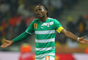 NELSPRUIT, SOUTH AFRICA - JUNE 25:  Didier Drogba of the Ivory Coast reacts during the 2010 FIFA World Cup South Africa Group G match between North Korea and Ivory Coast at the Mbombela Stadium on June 25, 2010 in Nelspruit, South Africa.  (Photo by Camer
