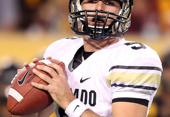 TEMPE, AZ - OCTOBER 29:  Quarterback Tyler Hansen #9 of the Colorado Buffaloes during the college football game against the Arizona State Sun Devils at Sun Devil Stadium on October 29, 2011 in Tempe, Arizona.  The Sun Devils defeated the Buffaloes 48-14.