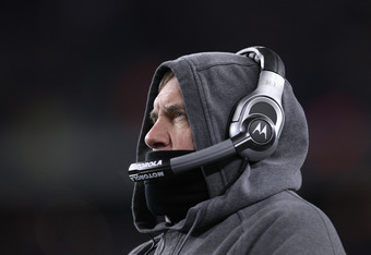 FOXBORO, MA - JANUARY 14:  Head coach Bill Belichick of the New England Patriots looks on against the Denver Broncos during their AFC Divisional Playoff Game at Gillette Stadium on January 14, 2012 in Foxboro, Massachusetts.  (Photo by Elsa/Getty Images)