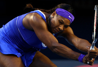 MELBOURNE, AUSTRALIA - JANUARY 21: Serena Williams plays a backhand in her third round match against Greta Arn of Hungary during day six of the 2012 Australian Open at Melbourne Park on January 21, 2012 in Melbourne, Australia.  (Photo by Ryan Pierse/Gett