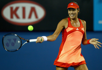 MELBOURNE, AUSTRALIA - JANUARY 17:  Ana Ivanovic of Serbia plays a forehand during her first round match against Lourdes Dominguez Lino of Spain during day two of the 2012 Australian Open at Melbourne Park on January 17, 2012 in Melbourne, Australia.  (Ph