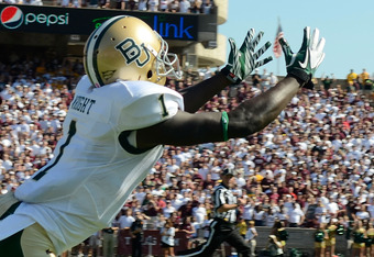 COLLEGE STATION, TX - OCTOBER 15: Kendall Wright #1 of the Baylor Bears dives for an overthrown pass during a game against the Texas A&M Aggies at Kyle Field on October 15, 2011 in College Station, Texas. The Texas A&M Aggies defeated the Baylor Bears 55-