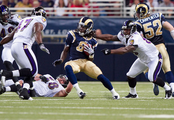 ST. LOUIS - SEPTEMBER 2: Mardy Gilyard #81 of the St. Louis Rams looks to get past Ed Dickson #83 of the Baltimore Ravens during an NFL preseason game at the Edward Jones Dome on September 2, 2010 in St. Louis, Missouri.  (Photo by Dilip Vishwanat/Getty I
