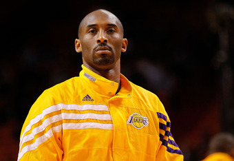 MIAMI, FL - JANUARY 19:  Kobe Bryant #24 of the Los Angeles Lakers looks on during a game against the Miami Heat at American Airlines Arena on January 19, 2012 in Miami, Florida. NOTE TO USER: User expressly acknowledges and agrees that, by downloading an