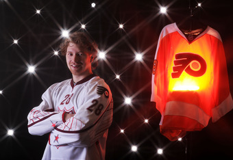 RALEIGH, NC - JANUARY 30:  (EDITORS NOTE: A special effects camera filter was used for this image.) Claude Giroux #28 of the Philadelphia Flyers for Team Staal poses for a portrait before the 58th NHL All-Star Game at RBC Center on January 30, 2011 in Ral