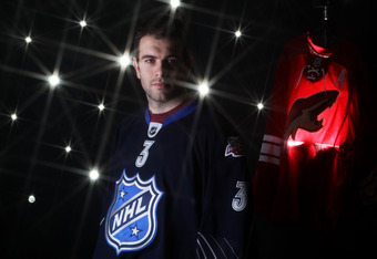 RALEIGH, NC - JANUARY 30:  (EDITORS NOTE: A special effects camera filter was used for this image.) Keith Yandle #3 of the Phoenix Coyotes for Team Lidstrom poses for a portrait before the 58th NHL All-Star Game at RBC Center on January 30, 2011 in Raleig