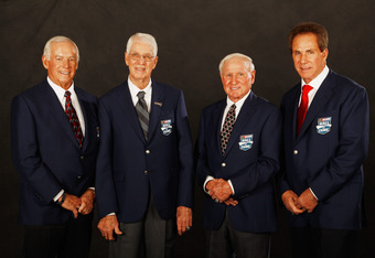 CHARLOTTE, NC - JANUARY 20:  From left, Dale Inman, Glen Wood, Cale Yarborough and Darrell Waltrip pose for a photo after being inducted into the NASCAR Hall of Fame on January 20, 2012 in Charlotte, North Carolina.  (Photo by Chris Graythen/Getty Images