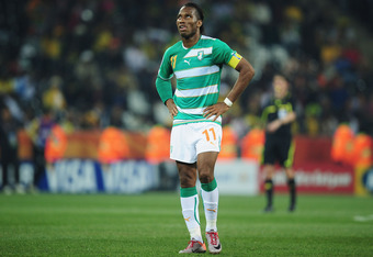 NELSPRUIT, SOUTH AFRICA - JUNE 25:  Didier Drogba of the Ivory Coast reacts during the 2010 FIFA World Cup South Africa Group G match between North Korea and Ivory Coast at the Mbombela Stadium on June 25, 2010 in Nelspruit, South Africa.  (Photo by Clive