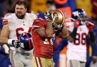 SAN FRANCISCO, CA - JANUARY 22:  Kyle Williams #10 of the San Francisco 49ers reacts after he fumbled the ball on a punt return which the New York Giants recovered in overtime during the NFC Championship Game at Candlestick Park on January 22, 2012 in San