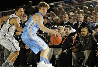 Freshman Stilman White, seen here during UNC's Carrier Classic victory over Michigan State in November, will take over Bullock's old role as Kendall Marshall's backup.