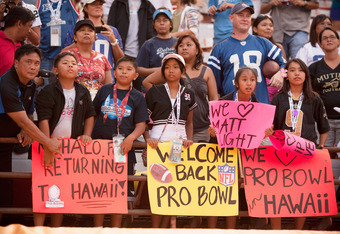 HONOLULU - JANUARY 30:  Fans in the bleachers during the 2011 NFL Pro Bowl between the American Football Conference (AFC) and National Football Conference (NFC) at Aloha Stadium on January 30, 2011 in Honolulu, Hawaii.  (Photo by Kent Nishimura/Getty Imag