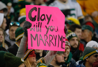 GREEN BAY, WI - DECEMBER 11: A fan holds up a sign intended for Clay Matthews #52 of the Green Bay Packers during the game against the Oakland Raiders at Lambeau Field on December 11, 2011 in Green Bay, Wisconsin. (Photo by Scott Boehm/Getty Images)