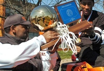 Rondae Jefferson holding the 2011 Pennsylvania AAAA State Championship Trophy
