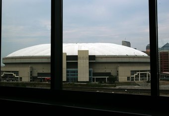 INDIANAPOLIS - SEPTEMBER 21:  A view of the RCA Dome taken from Lucas Oil Stadium on September 21, 2008 in Indianapolis, Indiana.  (Photo by Ronald Martinez/Getty Images)