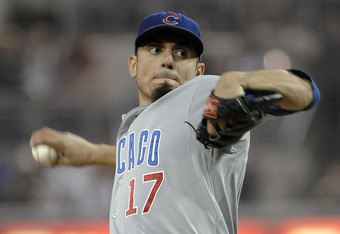 SAN DIEGO, CA - SEPTEMBER 27:  Matt Garza #17 of the Chicago Cubs pitches during the first inning of a baseball game against the San Diego Padres at Petco Park on September 27, 2011 in San Diego, California.  (Photo by Denis Poroy/Getty Images)