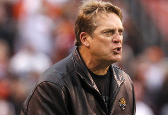 CLEVELAND, OH - NOVEMBER 20:  Head coach Jack Del Rio of the Jacksonville Jaguars argues a call against the Cleveland Browns at Cleveland Browns Stadium on November 20, 2011 in Cleveland, Ohio.  (Photo by Matt Sullivan/Getty Images)