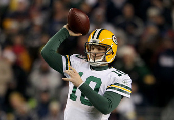 FOXBORO, MA - DECEMBER 19:  Quarterback Matt Flynn #10 of the Green Bay Packers throws a pass during the third quarter of the game against the New England Patriots at Gillette Stadium on December 19, 2010 in Foxboro, Massachusetts. The Patriots won the ga