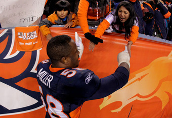 DENVER, CO - JANUARY 08:  Von Miller #58 of the Denver Broncos celebrates after defeating the Pittsburgh Steelers in overtime of the AFC Wild Card Playoff game at Sports Authority Field at Mile High on January 8, 2012 in Denver, Colorado. The Denver Bronc