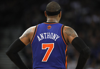 OAKLAND, CA - DECEMBER 28:  Carmelo Anthony #7 of the New York Knicks in action against the Golden State Warriors at Oracle Arena on December 28, 2011 in Oakland, California.  NOTE TO USER: User expressly acknowledges and agrees that, by downloading and o