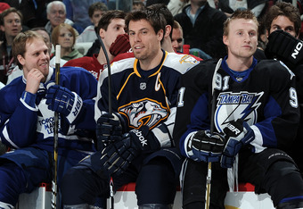 RALEIGH, NC - JANUARY 29:  Phil Kessel #81 of the Toronto Maple Leafs, Shea Weber #6 of the Nashville Predators and Steven Stamkos #91 of the Tampa Bay Lightning look on during the Honda NHL SuperSkills competition part of 2011 NHL All-Star Weekend at the