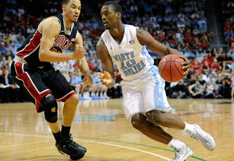 LAS VEGAS, NV - NOVEMBER 26:  Harrison Barnes #40 of the North Carolina Tar Heels drives against Chace Stanback #22 of the UNLV Rebels during the championship game of the Continental Tire Las Vegas Invitational at the Orleans Arena November 26, 2011 in La