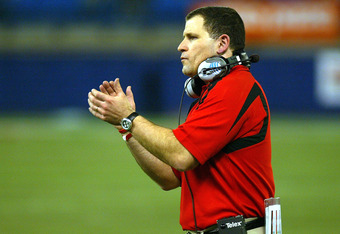 TORONTO - JANUARY 5:  Head Coach Greg Schiano of the Rutgers Scarlet Knights cheers his team on against the Ball State Cardinals during the International Bowl at the Rogers Centre January 5, 2008 in Toronto, Ontario, Canada.  (Photo by Dave Sandford/Getty