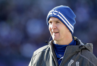 BALTIMORE, MD - DECEMBER 11:  Peyton Manning #18 of the Indianapolis Colts looks on from the sidelines during the second half against the Baltimore Ravens at M&T Bank Stadium on December 11, 2011 in Baltimore, Maryland.  (Photo by Rob Carr/Getty Images)