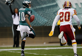 PHILADELPHIA, PA - JANUARY 01:  DeSean Jackson #10 of the Philadelphia Eagles outruns Oshiomogho Atogwe #20 of the Washington Redskins for a touchdown after catching a pass during the second half at Lincoln Financial Field on January 1, 2012 in Philadelph