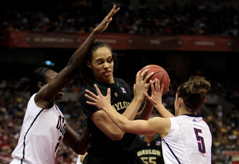 SAN ANTONIO - APRIL 04:  Center Brittney Griner #42 of the Baylor Bears is pressured by Tina Charles #31 and Caroline Doty #5 of the Connecticut Huskies during the Women's Final Four Semifinals at the Alamodome on April 4, 2010 in San Antonio, Texas.  (Ph