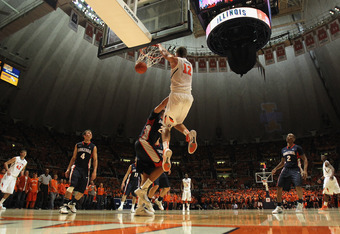 CHAMPAIGN, IL - DECEMBER 03:  Meyers Leonard #12 of the Illinois Fighting Illini dunks the ball against the Gonzaga Bulldogs at Assembly Hall on December 3, 2011 in Champaign, Illinois. Illinois defeated Gonzaga 82-75.  (Photo by Jonathan Daniel/Getty Ima