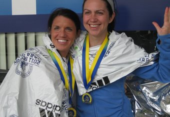 "The ""Samaras Sisters"" after last years event. Both will be running this year for Team Hoyt."