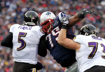 Vince Wilfork (75) is leading New England's surging pass rush through the playoffs.