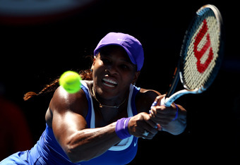 MELBOURNE, AUSTRALIA - JANUARY 23:  Serena Williams of the United States of America plays a backhand in her fourth round match against Ekaterina Makarova of Russia during day eight of the 2012 Australian Open at Melbourne Park on January 23, 2012 in Melbo