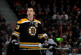 OTTAWA, ON - JANUARY 28:  Zdeno Chara #33 of the Boston Bruins and Team Chara looks on during the Blackberry NHL Hardest Shot part of the 2012 Molson Canadian NHL All-Star Skills Competition at Scotiabank Place on January 28, 2012 in Ottawa, Ontario, Cana