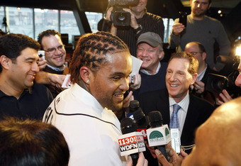 Prince Fielder surrounded by Detroit media following his announcement as the newest Big Cat in the Motor City.