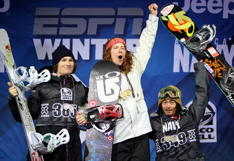 ASPEN, CO - JANUARY 29:  Shaun White (C) of the USA takes the podium after winning the gold medal in the Men's Snowboard Superpipe along with Iouri Podladtchikov (L) of Switzerland in second place and Kazuhiro Kokubo (R) of Japan in third place at Winter