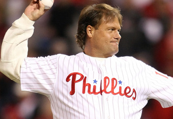PHILADELPHIA - OCTOBER 18:  Darren Dalton throws out the first pitch before the Los Angeles Dodgers take on the Philadelphia Phillies in Game Three of the NLCS during the 2009 MLB Playoffs at Citizens Bank Park on October 18, 2009 in Philadelphia, Pennsyl