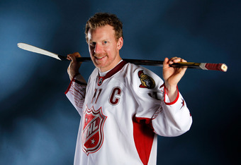 OTTAWA, ON - JANUARY 29:  Daniel Alfredsson #11 of the Ottawa Senators and Team Alfredsson poses prior to the 2012 NHL All-Star Game at Scotiabank Place on January 29, 2012 in Ottawa, Ontario, Canada.  (Photo by Gregory Shamus/Getty Images)
