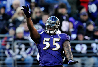 BALTIMORE, MD - JANUARY 15:  Terrell Suggs #55 of the Baltimore Ravens celebrates during the third quarter of the AFC Divisional playoff game against the Houston Texans at M&T Bank Stadium on January 15, 2012 in Baltimore, Maryland.  (Photo by Patrick McD
