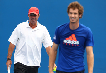 MELBOURNE, AUSTRALIA - JANUARY 25:  Andy Murray of Great Britain and his coach Ivan Lendl joke in a practice session during day ten of the 2012 Australian Open at Melbourne Park on January 25, 2012 in Melbourne, Australia.  (Photo by Clive Brunskill/Getty