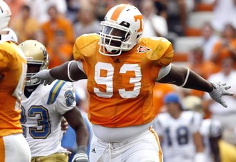 KNOXVILLE, TN - SEPTEMBER 12: Montori Hughes #93 of the Tennessee Volunteers celebrates after a sack against the UCLA Bruins on September 12, 2009 at Neyland Stadium in Knoxville, Tennessee. UCLA beat Tennessee 19-15. (Photo by Joe Murphy/Getty Images)