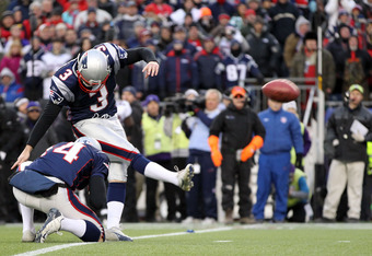 FOXBORO, MA - JANUARY 22:  Stephen Gostkowski #3 of the New England Patriots kicks a field goal against the Baltimore Ravens during their AFC Championship Game at Gillette Stadium on January 22, 2012 in Foxboro, Massachusetts.  (Photo by Jim Rogash/Getty