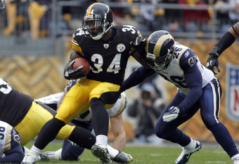 PITTSBURGH, PA - DECEMBER 24:  Rashard Mendenhall #34 of the Pittsburgh Steelers carries the ball against the St. Louis Rams during the game on December 24, 2011 at Heinz Field in Pittsburgh, Pennsylvania.  The Steelers won 27-0.  (Photo by Justin K. Alle