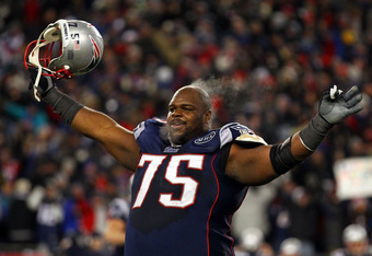 FOXBORO, MA - JANUARY 22:   Vince Wilfork #75 of the New England Patriots celebrates after defeating the Baltimore Ravens in the AFC Championship Game at Gillette Stadium on January 22, 2012 in Foxboro, Massachusetts. The New England Patriots defeated the