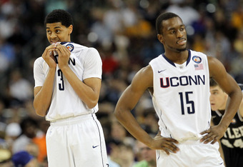 HOUSTON, TX - APRIL 04:  Jeremy Lamb #3 and Kemba Walker #15 of the Connecticut Huskies look on against the Butler Bulldogs during the National Championship Game of the 2011 NCAA Division I Men's Basketball Tournament at Reliant Stadium on April 4, 2011 i