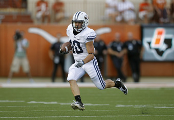 AUSTIN, TX - SEPTEMBER 10:  Running back J.J. Di Luigi #10 of the BYU Cougars runs against the Texas Longhorns on September 10, 2011 at Darrell K. Royal-Texas Memorial Stadium in Austin, Texas.  Texas defeated BYU 17-16. (Photo by Erich Schlegel/Getty Ima